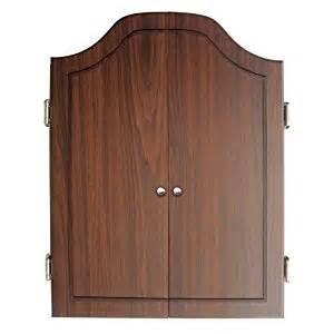 dartboard cabinet set with rustic wood finish