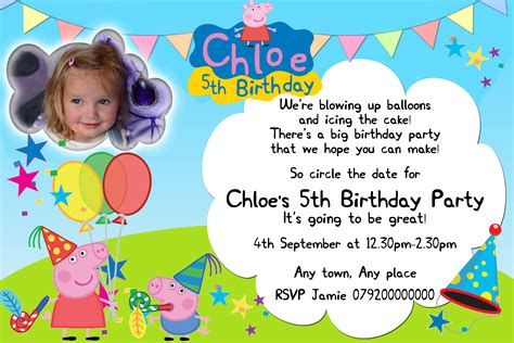 Peppa Pig Invitation Card Template by Peppa Pig Invitations Theruntime