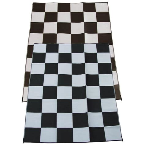 fireside patio mats racing checks black and white