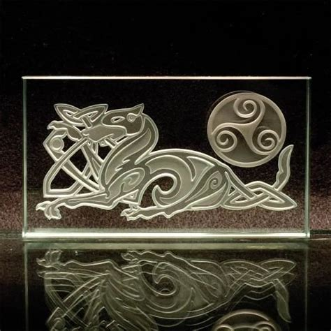 celtic home decor celtic knotwork etched glass paperweight