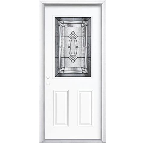 34 Inch Exterior Door Masonite 34 Inch X 80 Inch X 6 9 16 Inch Antique Black 1 2 Lite Right Entry Door With
