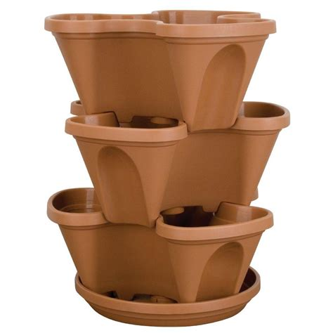 Stackable Planters by Stack A Pot Resin Stackable Planter Clay Shop Your Way
