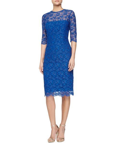 3 4 Sleeve Lace Sheath Dress kalinka 3 4 sleeve lace sheath dress royal blue