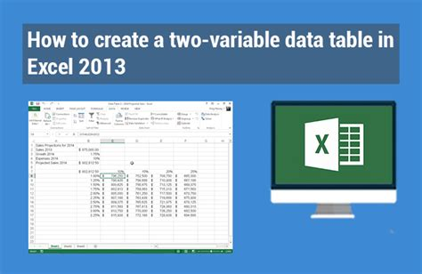 One Variable Data Table Excel 2013 by How To Create A Two Variable Data Table In Excel 2013
