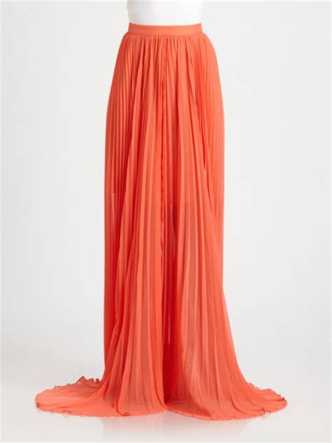 shannon pleated maxi skirt in orange