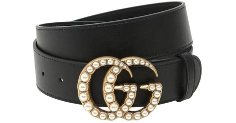 Gucci Marmont Pearl 678 Seprem gucci 40mm gg marmont pearl buckle belt in black lyst