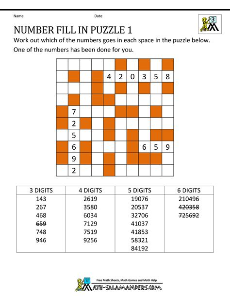Puzzle Numbers 2 number fill in puzzles