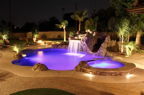 outdoor pool lighting luxury pool spa pool design ideas