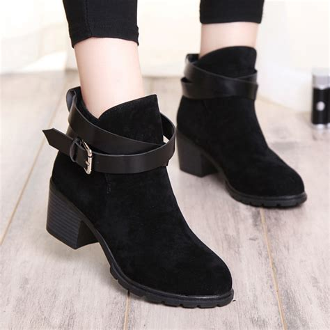 boots high heels buckle winter shoes fur