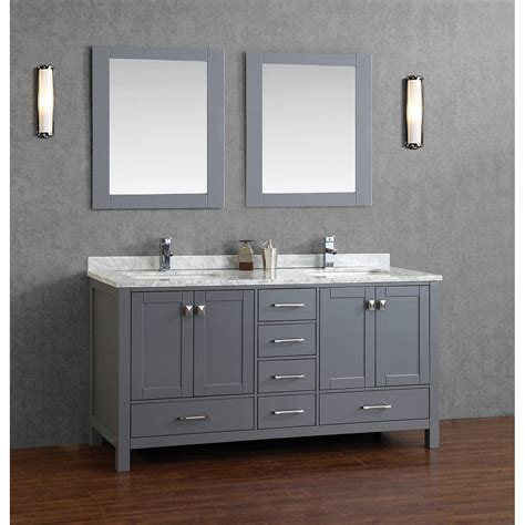 Buy Vincent 72 Inch Solid Wood Double Bathroom Vanity In Gray Bathroom Vanities