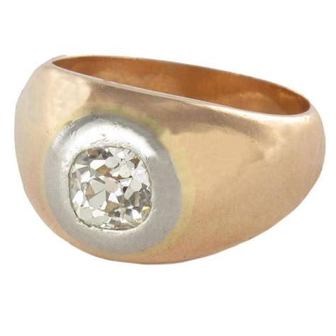 antique cushion cut gold band ring at 1stdibs