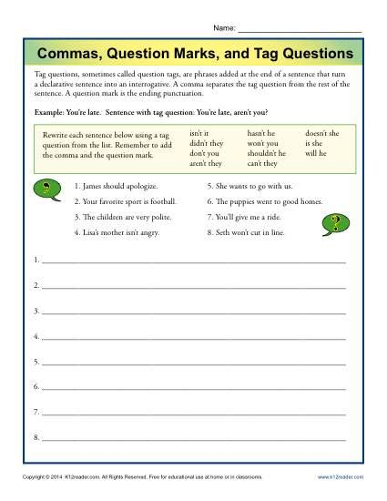 free printable question mark worksheets commas question marks and tag questions punctuation