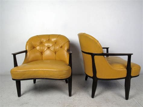 Yellow Tufted Chair by Pair Of Yellow Tufted Chairs By Dunbar For Sale At 1stdibs