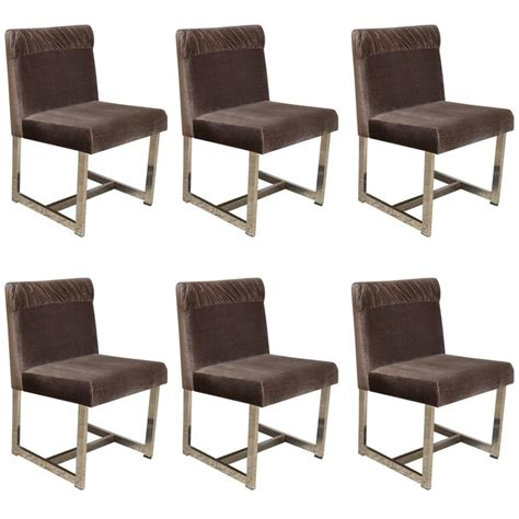 set of six style of milo baughman dining chairs by comfort