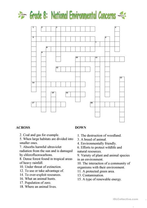 environmental crossword worksheet free esl printable