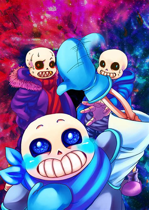 undertale and underfell and underswap sans by servy0619 on