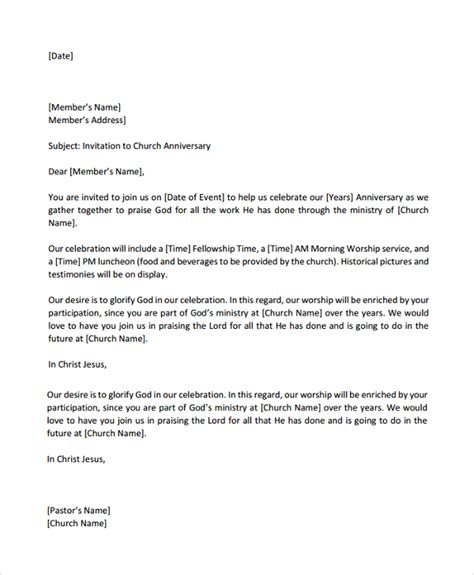 Invitation Letter Format For Anniversary church anniversary invitation letter images invitation sle and invitation design