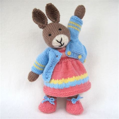 knit toys bunny rabbit doll knitting pattern instant