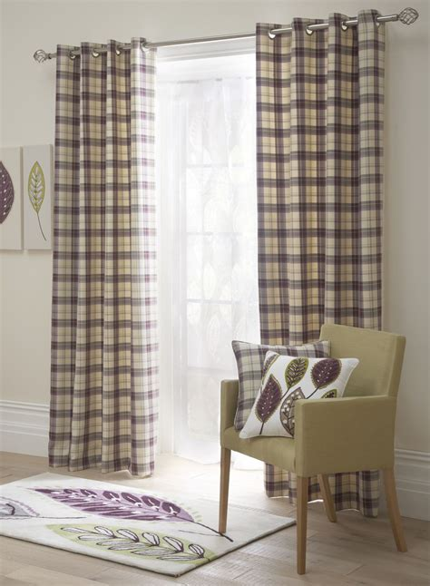 ready made check curtains uk tartan check lined eyelet curtains ready made ring top