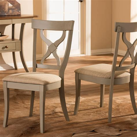 Baxton Studio Balmoral Beige Fabric And Distressed Gray Gray Wood Dining Chairs