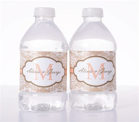 Wedding Water Bottle Labels by Soft Lace Burlap Print Wedding Water Bottle Labels