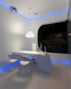 Futuristic Office Desk Modern And Futuristic Office In Blue Glowing Light Hidrosalud Office Home Building