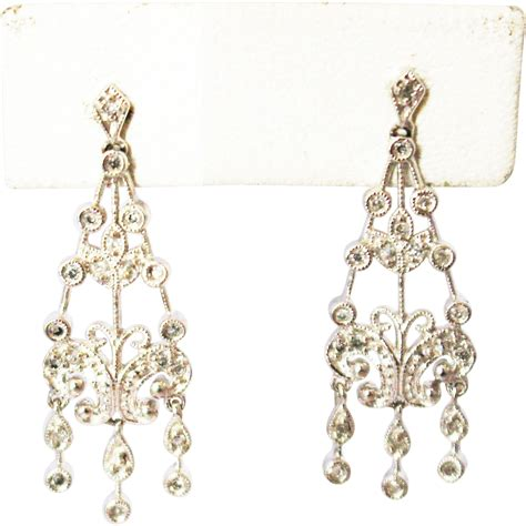 White Gold Chandelier Earrings Chandelier Earrings 14kt White Gold From Cham Nyc On Ruby