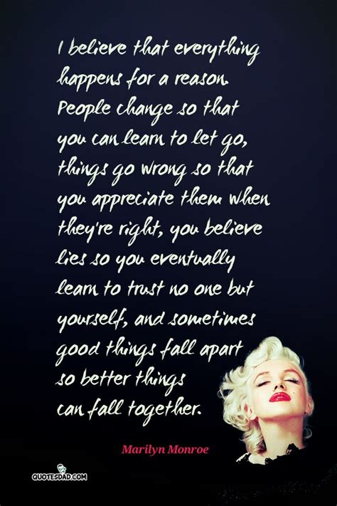 marilyn monroe quote i believe i believe that everything happens for marilyn monroe