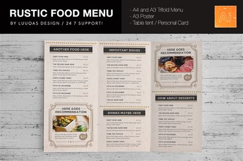 20 Free Premium Restaurant Menu Templates Psd Design Blog Rustic Website Template