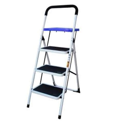 buffalo tools 3 step steel metal ladder with paint tray