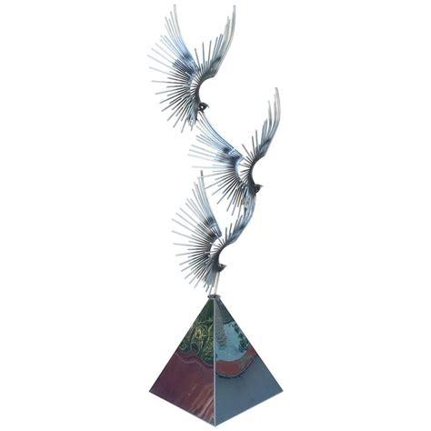 Bird Floor L by Polished Stainless Steel Birds At Flight Floor Sculpture