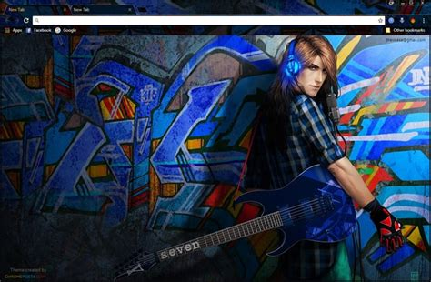 guitar theme for google chrome anime rock guitarist chrome theme chromeposta