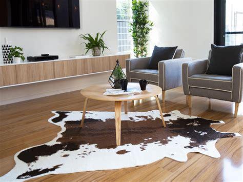 Living Room With Cowhide Rug - mocka faux cowhide rug living room decor