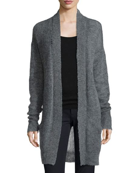 pointelle knit cardigan sleeve pointelle knit cardigan gray