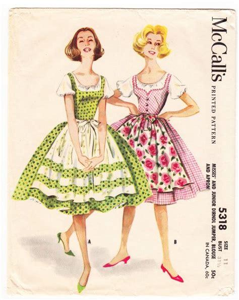 pattern for dirndl apron vintage 1960 mccall s 5318 sewing pattern junior s misses