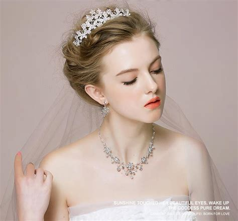 Wedding Hair Accessories Wholesale Australia by 2015 Wedding Tiaras Necklace Earrings Jewelry Sets