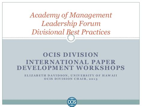 Ocis Search International Paper Development Workshops 2013 Ocis