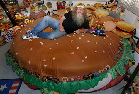 cheeseburger bed this man hoards hamburger memorabilia and it makes us