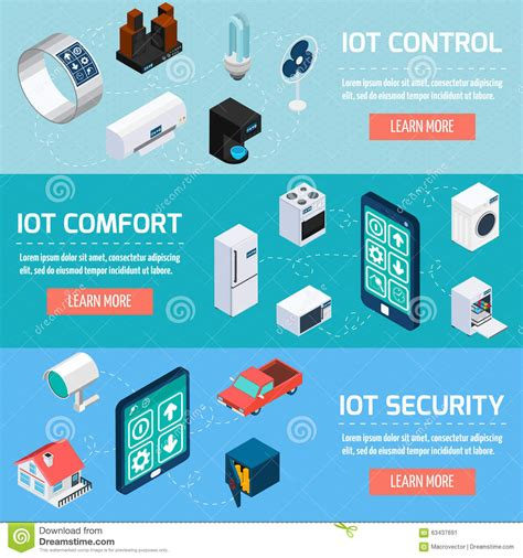 control comfort iot household isometric banners set stock vector image