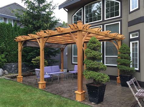 attached pergola 12x16 cedar wood pergola