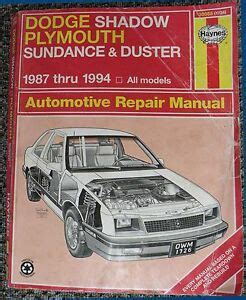 how to download repair manuals 1993 plymouth sundance spare parts catalogs haynes repair manual dodge shadow plymouth sundance duster 1987 thru 1994