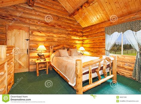 Free Log Cabin Floor Plans cozy bedroom in log cabin house stock photo image 38327590