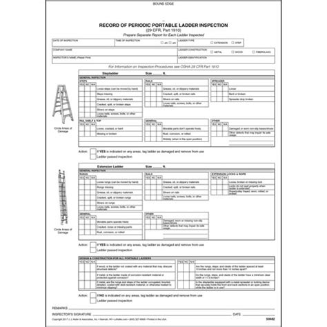 periodic portable ladder inspection form snap out format