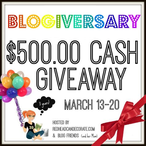 Today Great Cash Giveaway - 500 cash giveaway cottage at the crossroads