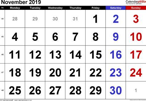calendar november  uk  excel word   templates