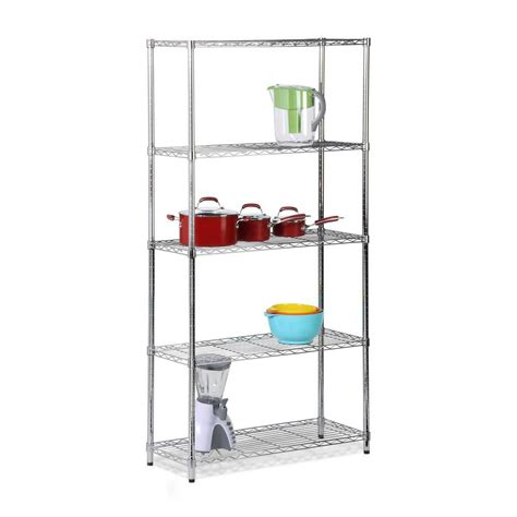 shelves at home depot honey can do five tier chrome storage shelves 200lb the home depot canada