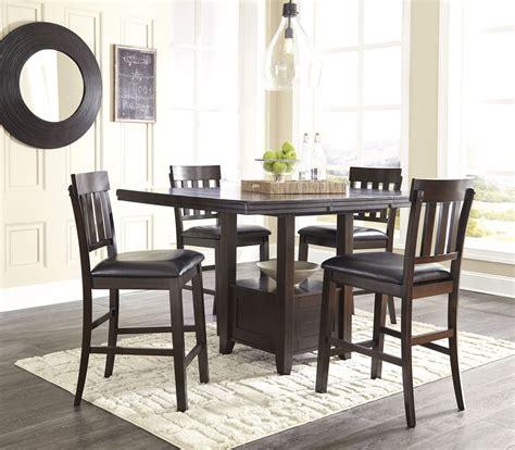 dining room set square counter height efurniture mart haddigan dark brown rectangular extendable counter height