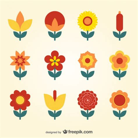 flat design flowers collection vector free download