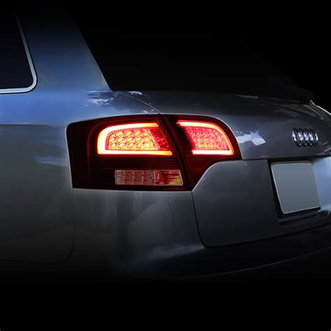 audi b7 tail lights 05 08 audi b7 a4 s4 avant smoked housing red lens 3d led