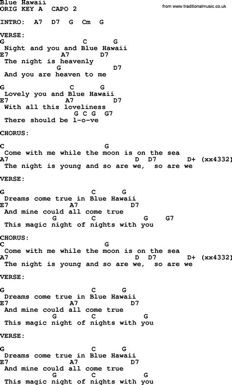 blue ukulele song tabs blue hawaii by elvis lyrics and chords